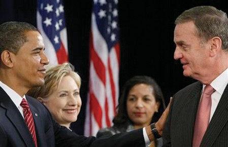 President-elect Barack Obama pictured with (l-r) Secretary of State-designate Sen. Hillary Rodham Clinton; United Nations Ambassador-designate Susan Rice; and National Security Adviser-designate Ret. Marine Gen. James Jones.