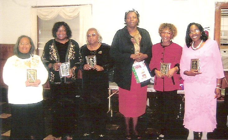 R-L: Awards to Ruth #3 OES Officers - Sister Barbara Moore, Financial Secretary; Sis. Pauline Hills, Worthy Matron; Sis. Terrisena McClain, Secretary and 2008 Queen of