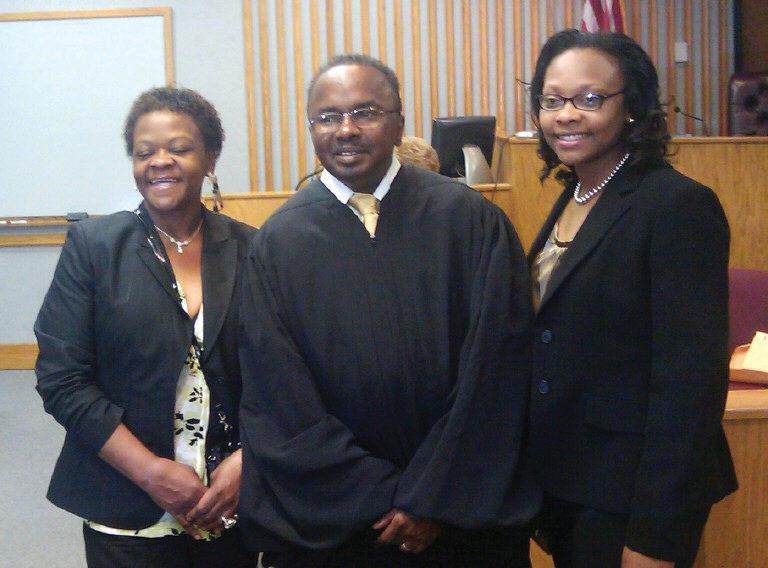 L-R: Cynthia Cornish, Judge James Bass, Florence Cornish.
