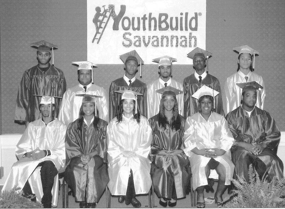 YouthBuild Graduates: Tramaurie Ashley, Brandon Bailey, Sr., Joshua Coaxum, Raymond Hargrove, Dominiq Harris, Roger Hill, Jr., Marcus Houston, Ankhkaser Khatma, Dana McFarlin, Porchia Randall, Sha'Tavia Sanders, and Shermika Sanders.