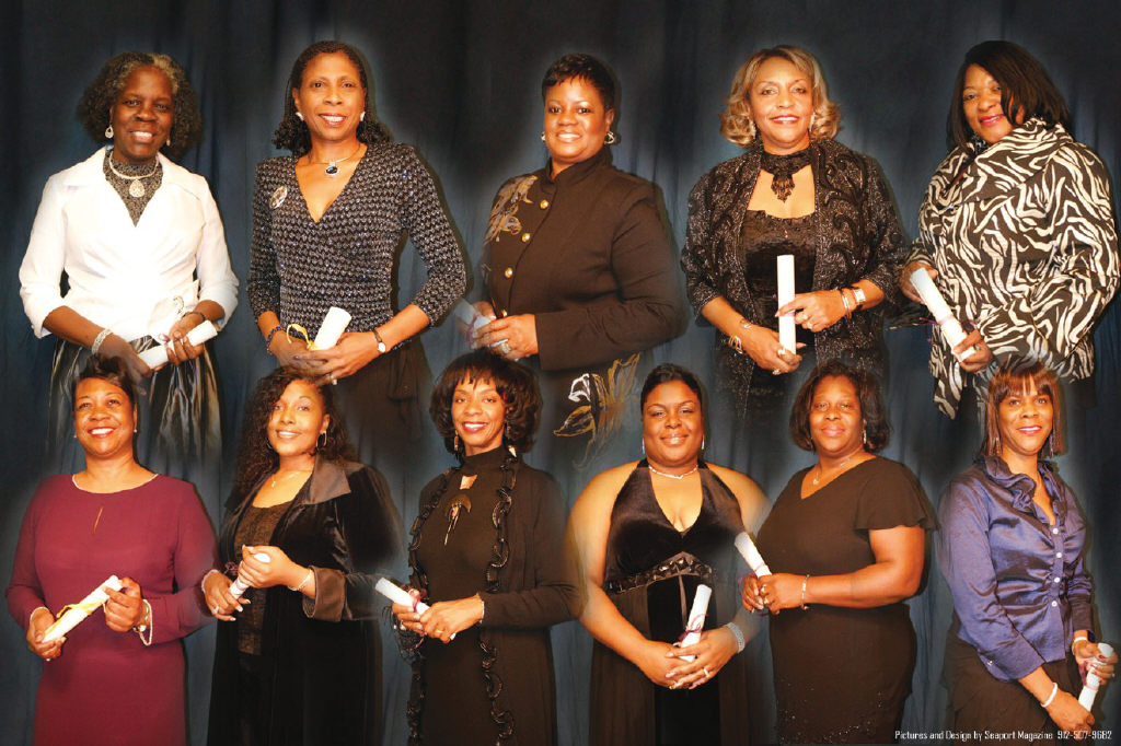 The 2009 100/Plus Black Women of Influence inductees are Top (l-r): Emily M. Crawford, D.B.A., PhD.; Pamela Oglesby; Patricia Jenks-Greene; Dorothy Strong; and Vera Banks. Bottom (l-r): Valerie Brown; Nicole Cutter Manning; Dr. Ann Linton; Tamika Lonon; Pamela Jerald; and Brenda Roberts, Ed. S. Credit: Seaport Magazine