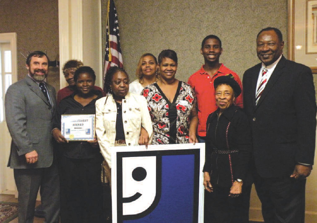 L-R: Bill Oakley, President/CEO, Goodwill Industries; Florence Youmans; Melvina Baker, Goodwill Consumer (recognized for achieving program goals) Kathy Wynn, (recognized for maintaining successful employment) Brenda Pollen, Director of Workforce Development; Katrena Hicks, Program Manager; Dimonique Robinson, (recognized for obtaining successful employment); Margaret Williams, GIVS President & Goodwill Industries Board of Directors; Dr. Robert James, President, Carver State Bank