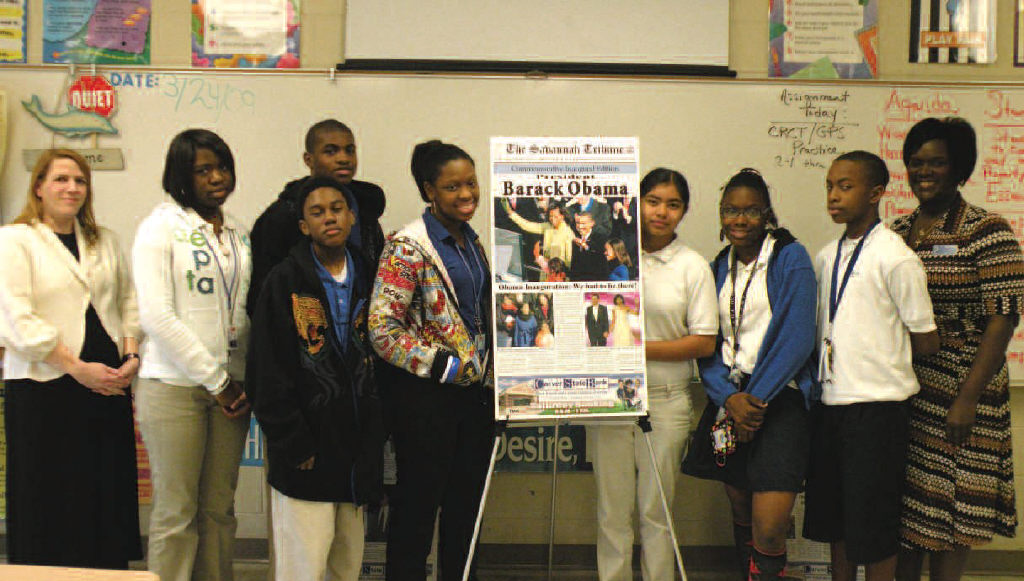 Shown above are 8th grade students of DeRenne Middle School along with instructors Tracy Owen (left end) and Terri Mobley, (right end). They participated in the media workshop with The Savannah Tribune.