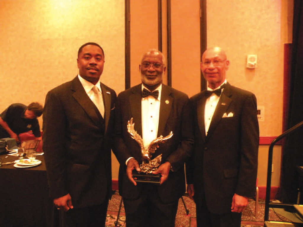 L-R:H. Lee Perry, II, President, 100 Black Men of Savannah, Dr. David Satcher, and Mayor Otis S. Johnson, Ph.D