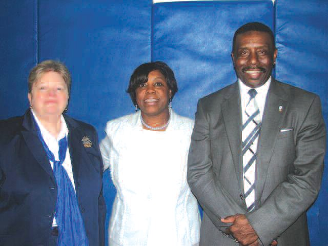 (L-R): Marsha Tolbert - Principal of DeRenne Middle School, Angelia Dorsey- President of DeRenne's School Council, and Willie Seymore - President of ILA Local 1414.