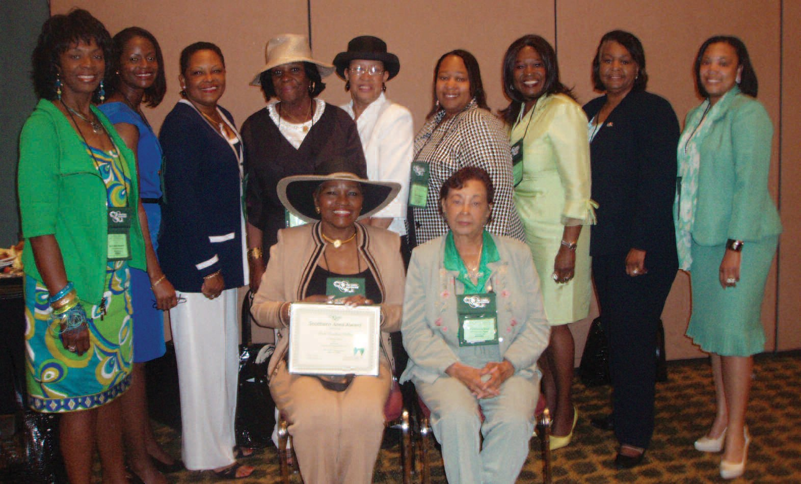 Members of the Savannah Chapter of The Links, Inc. are pictured with Rosalind Hollis (seated, left) who received her 25-year certificate during the Southern Area Conference.