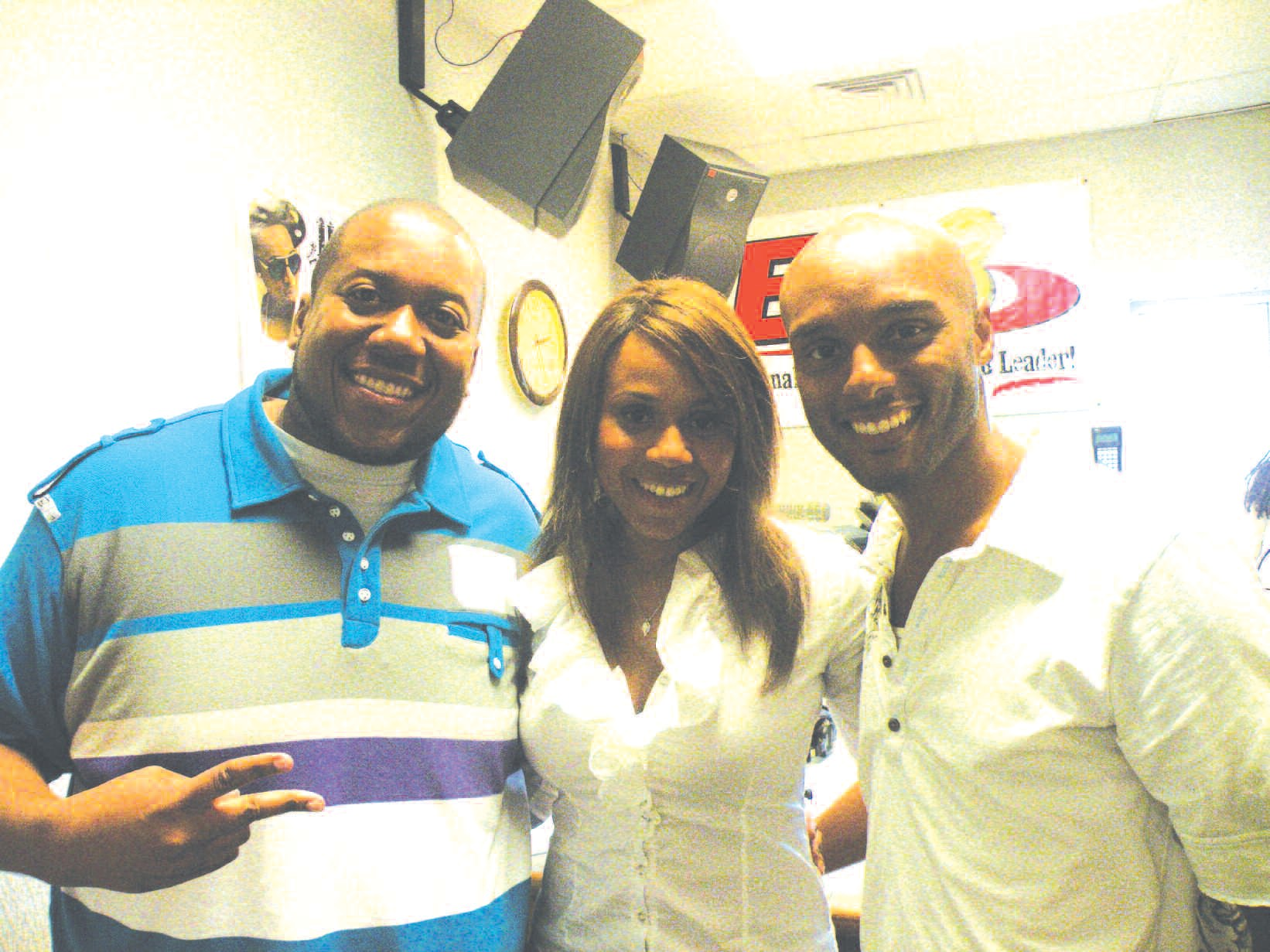 Kenya Cabine, (l) of E-93 FM is pictured with Deborah Cox and Kenny Lattimore