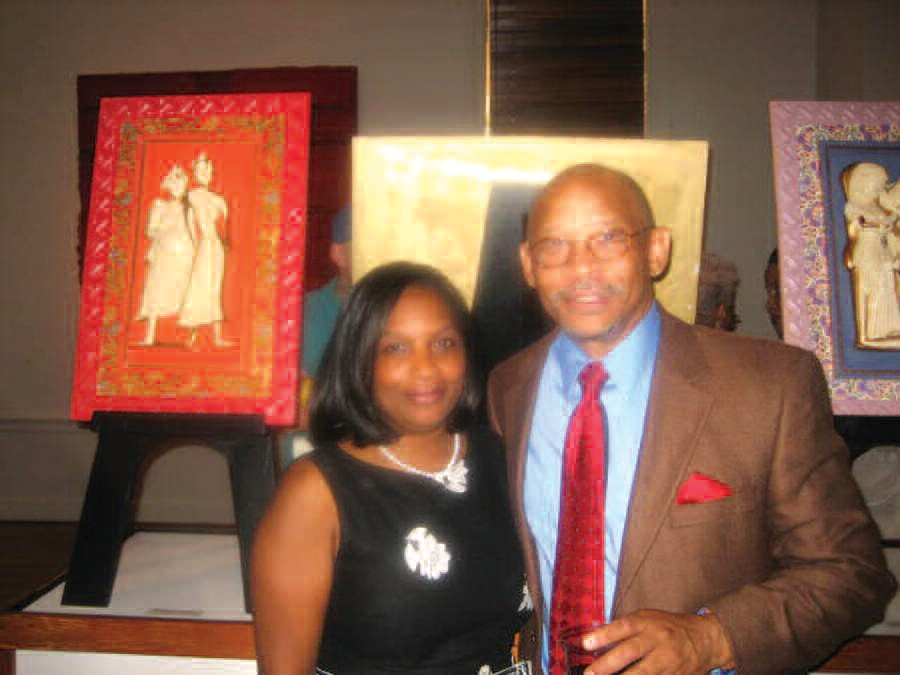 Art exhibitor Phil Starks, pictured with Karen Wilds.