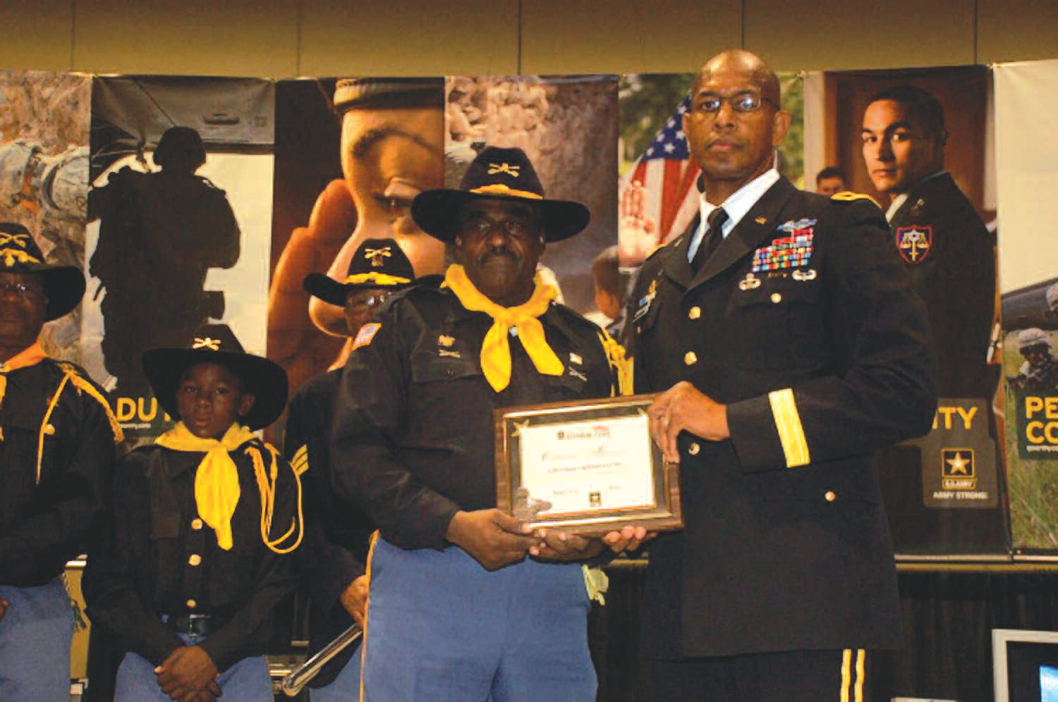 Lifetime New Orleans resident Lieutenant Colonel (retired) Clarence Alexander Becknell (left) receives his Veteran Commendation from Brigadier General Arnold Gordon-Bray.