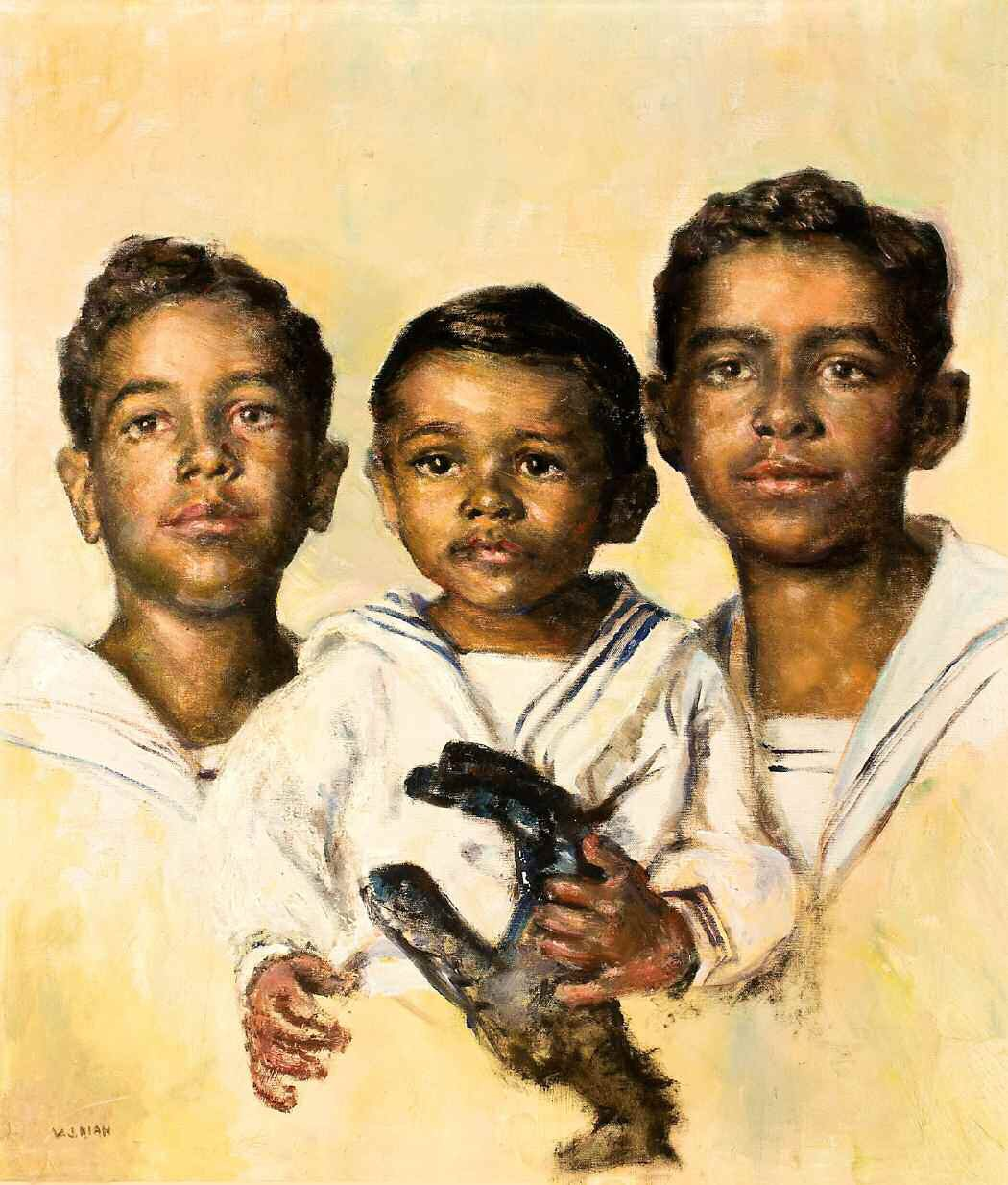 Keiffer, Michael, and Clarence Mitchell (My Nephews), oil on canvas, by Virginia Kiah c. 1940s-50.
