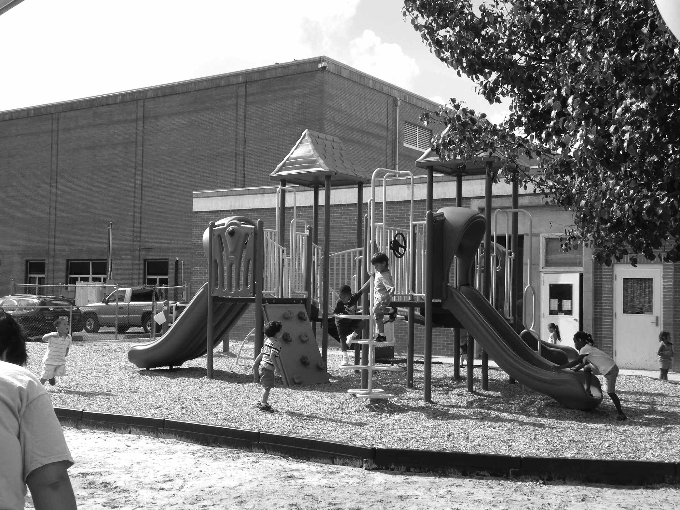 Children play on the new playground located at the Habersham St. YMCA