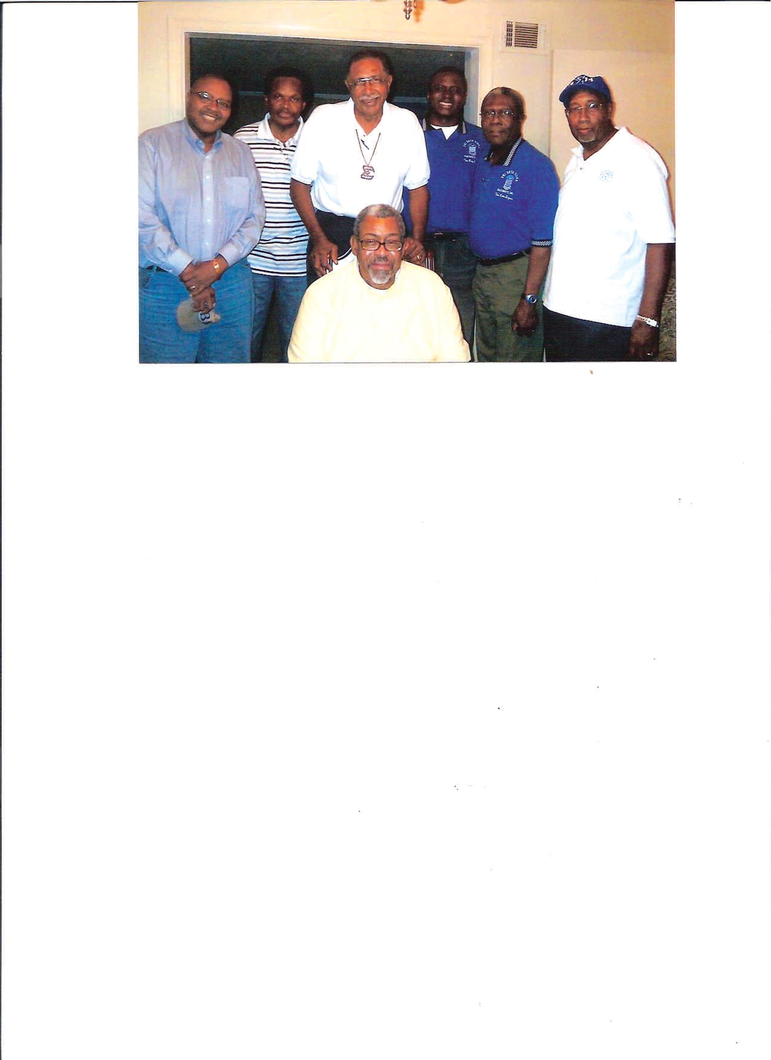 L to R: Bro. Rev. William Eason, Bro. Edward Oglesby, Bro. Enoch Mathis, Bro. Brian Dawsey, Bro. Rev. Charles Purnell, Bro. Carl Moffit, and the Birthday Boy, Dr. Jeffrey James.