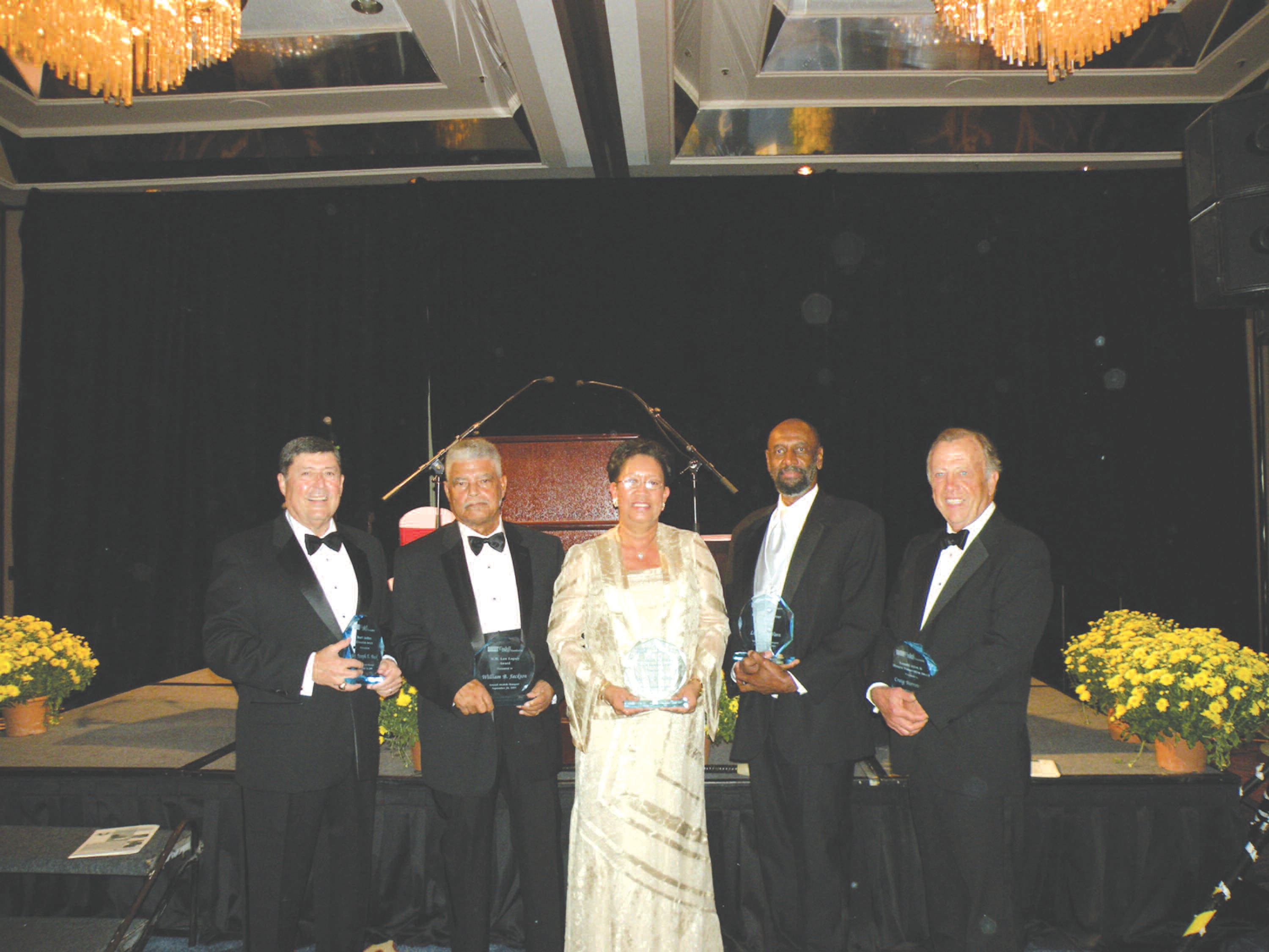 Pictured are award recipients (l-r): Joseph Buck, William B. Jackson, Shirley Barber James, Luther Vann and Craig Barrow, III