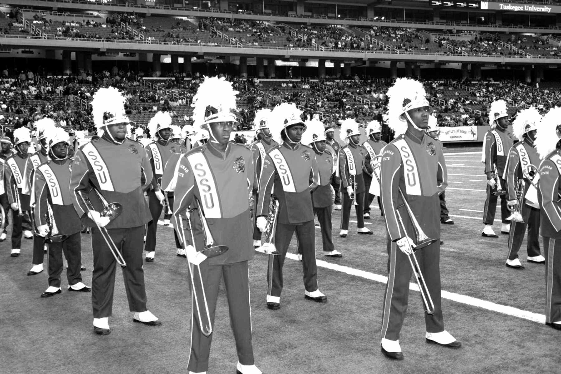 Members of SSU's Marching Band during a past Battle of the Bands Performance