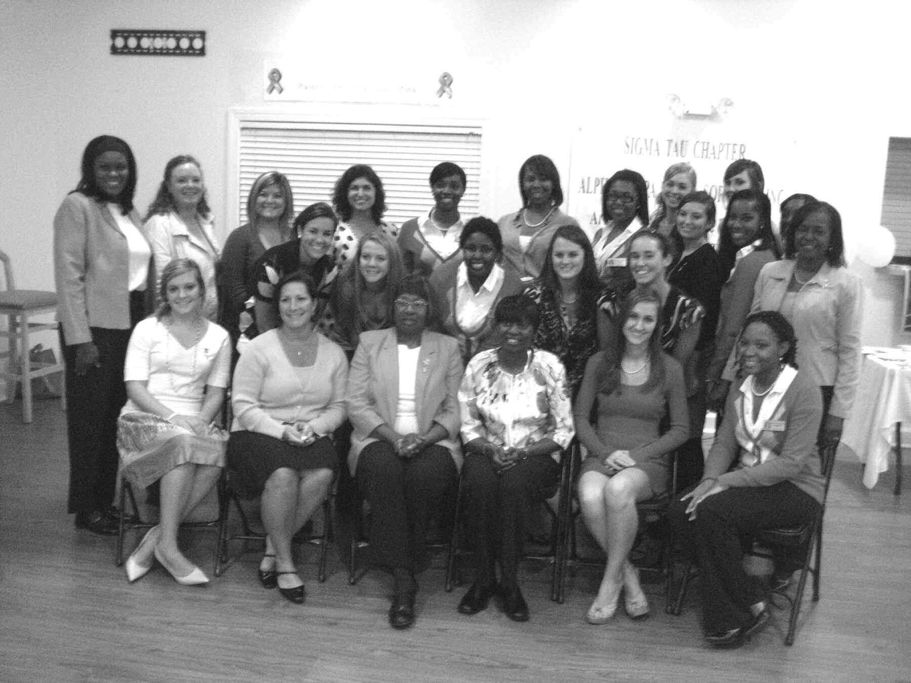 Sigma Tau Chapter members with guests at Breast Cancer Tea