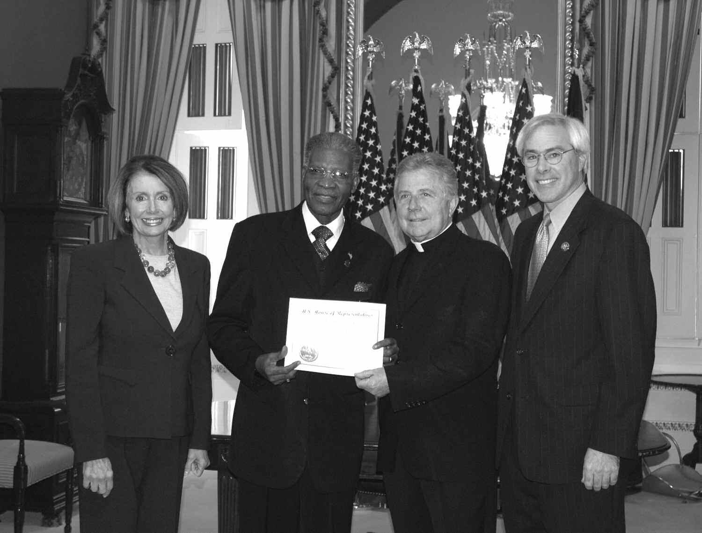 Speaker Pelosi, Rev. Matthew Southall Brown, Sr., House Chaplain Daniel Coughlin, and Congressman John Barrow