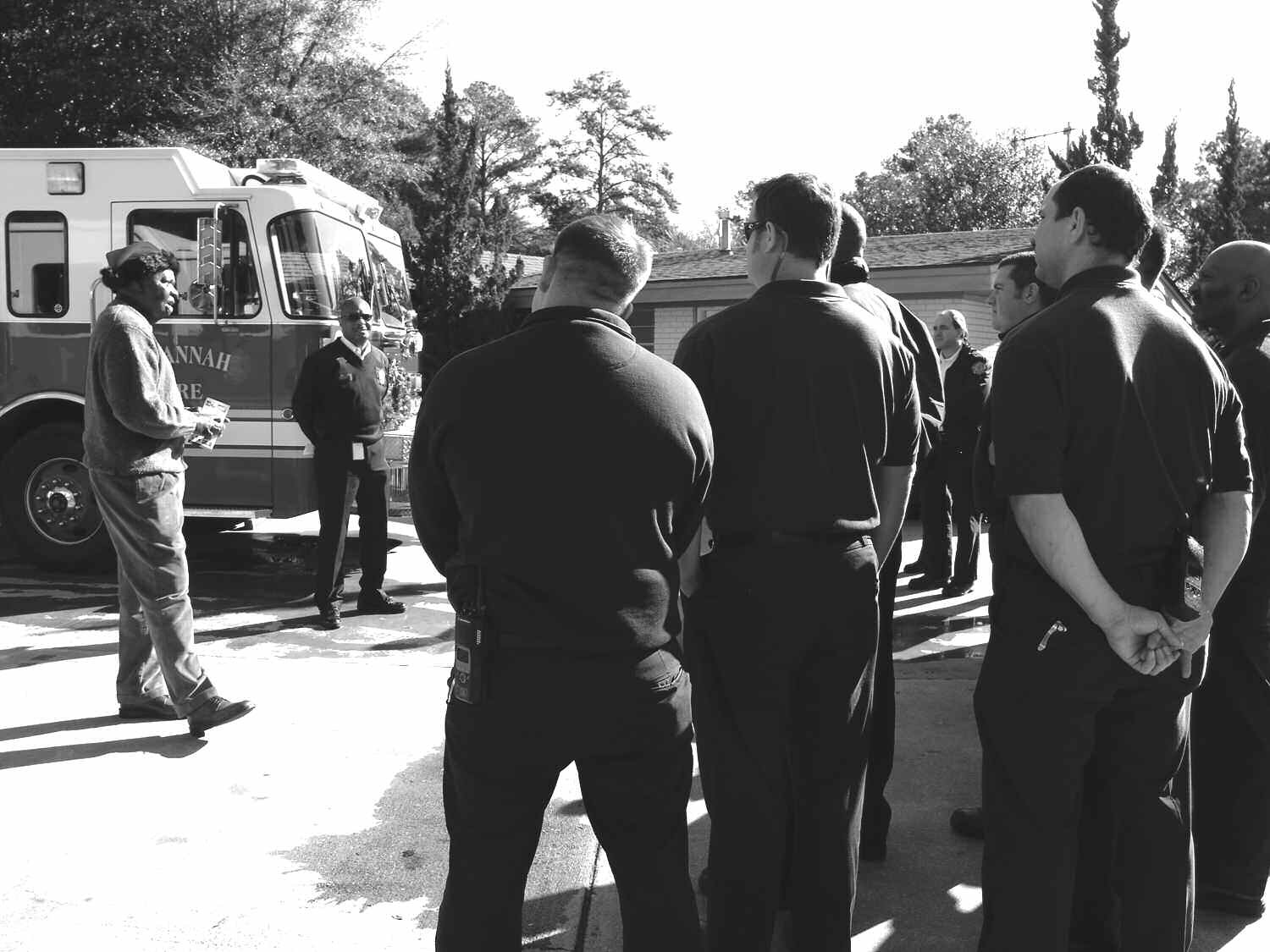 Pictured are: Dennis Gardin, Ex. Dir. GA Firefighters Burn Foundation, Inc. (2nd from left) SFES Chief Charles G. Middleton, and