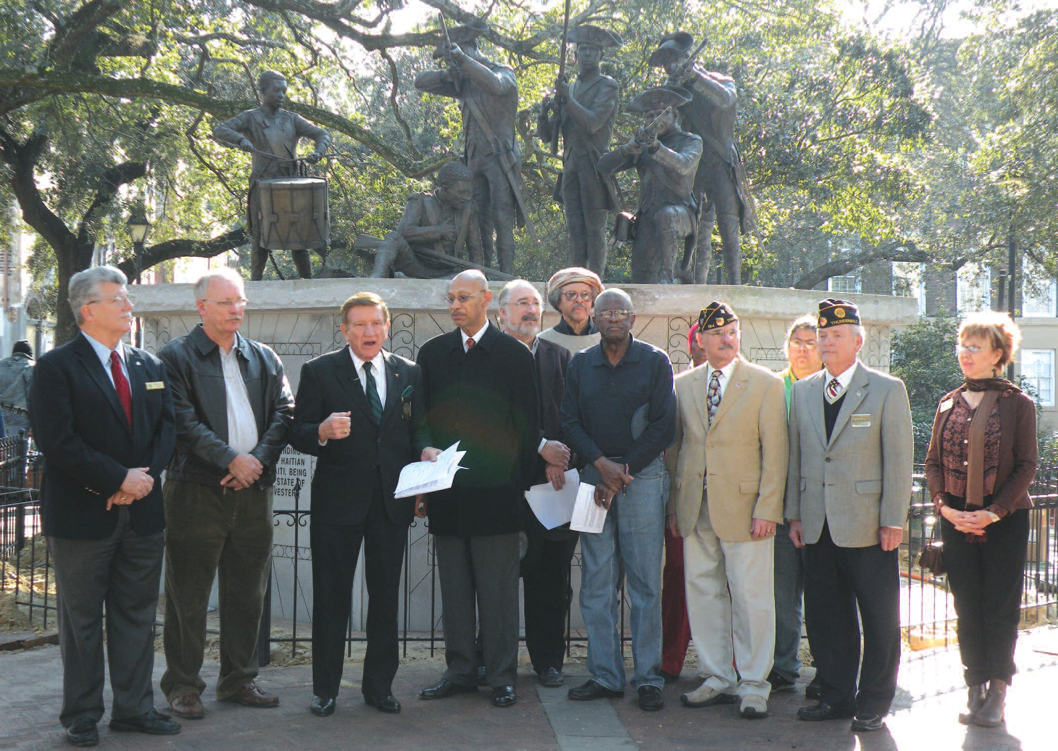 City Leaders stand in front of the Haitian Monument to announce Savannah Responds efforts to help the people of Haiti