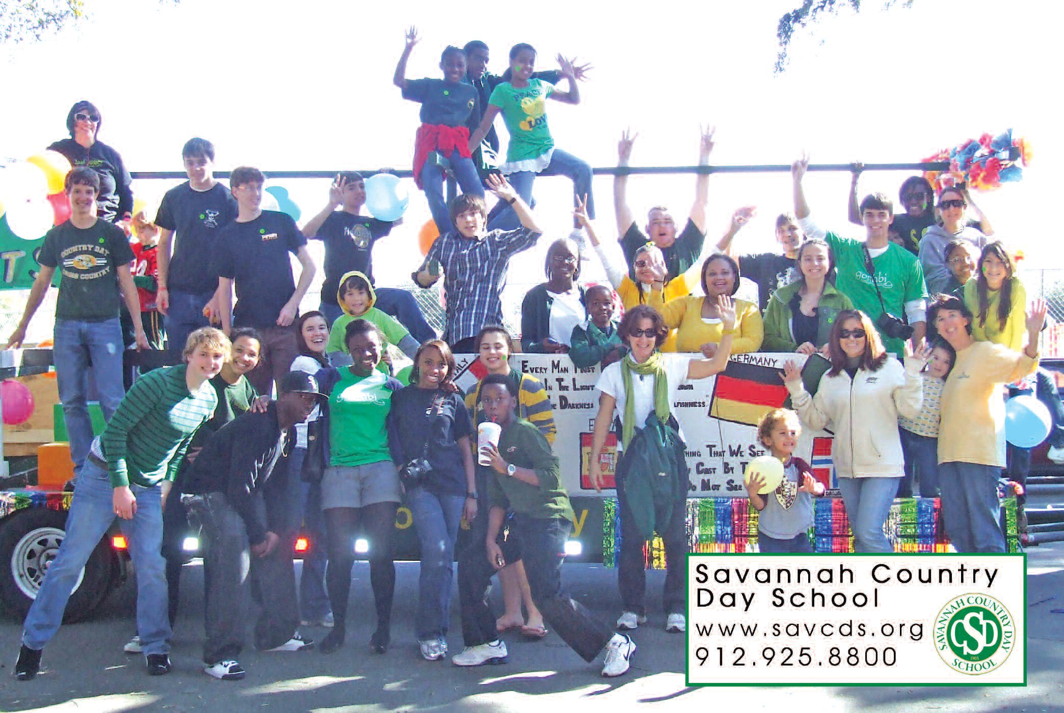 Savannah Country Day School walked away with the First Place Float Award for the float the school designed and placed in the Martin Luther King Day Parade held last Monday. Pictured above are students and faculty posing by the float. Congratulations to the Savannah Country Day School!