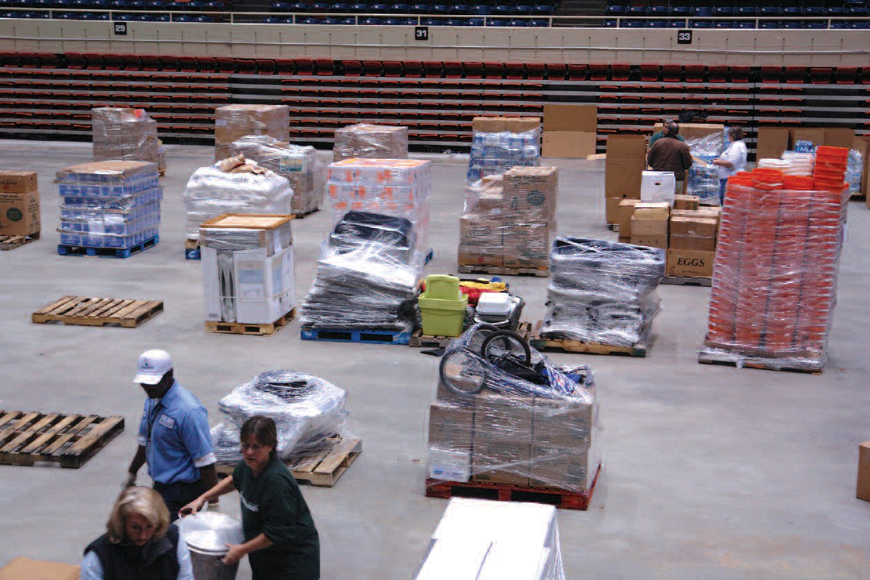 Pallets of materials were collected to donate to Haiti
