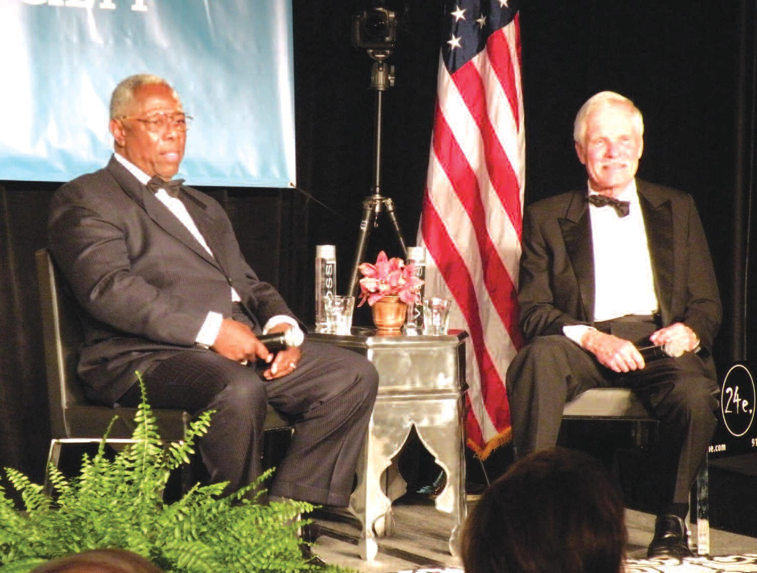 Hank Aaron and Ted Turner participate in a question and answer session following their Georgia Trustees induction