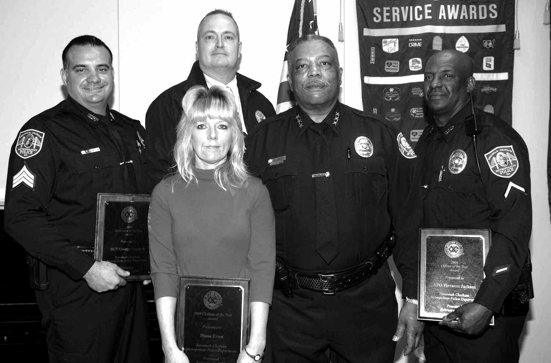 Pictured left to right: George Gundich, Joey Warenzak, Diane Ernst, Interim Chief Willie Lovett, and Terrance Jackson.