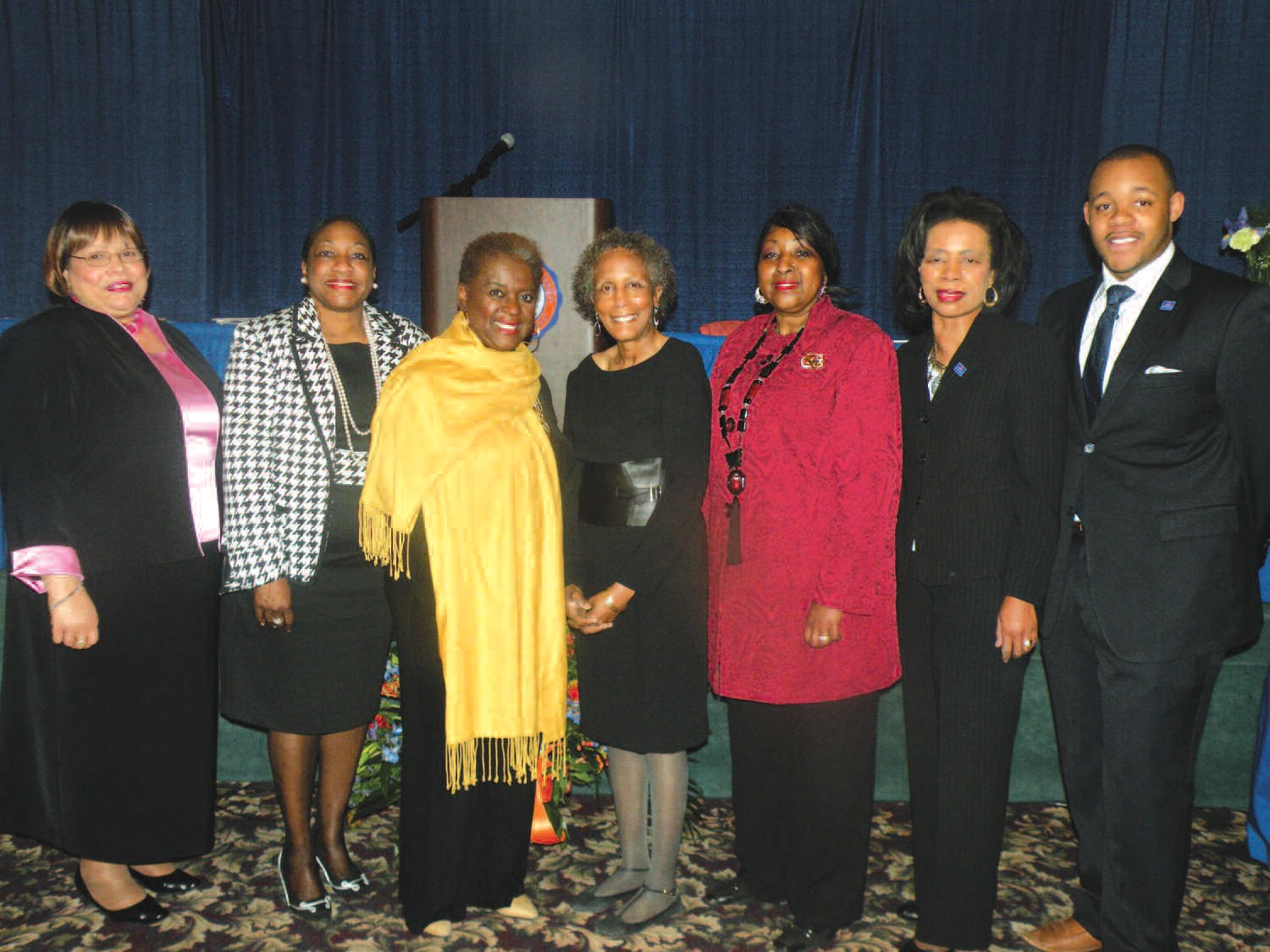 L-R: Rev. Marilyn Felder, Dean Jane Gates, College of Liberal Arts and Social Sciences, Betty Baye', Dr Carmen Manning Miller, Department Chair, Mass Communications, Edna Jackson, Mary Wyatt, V.P. Academic Affairs, and Eugene Brannon, Student Government President