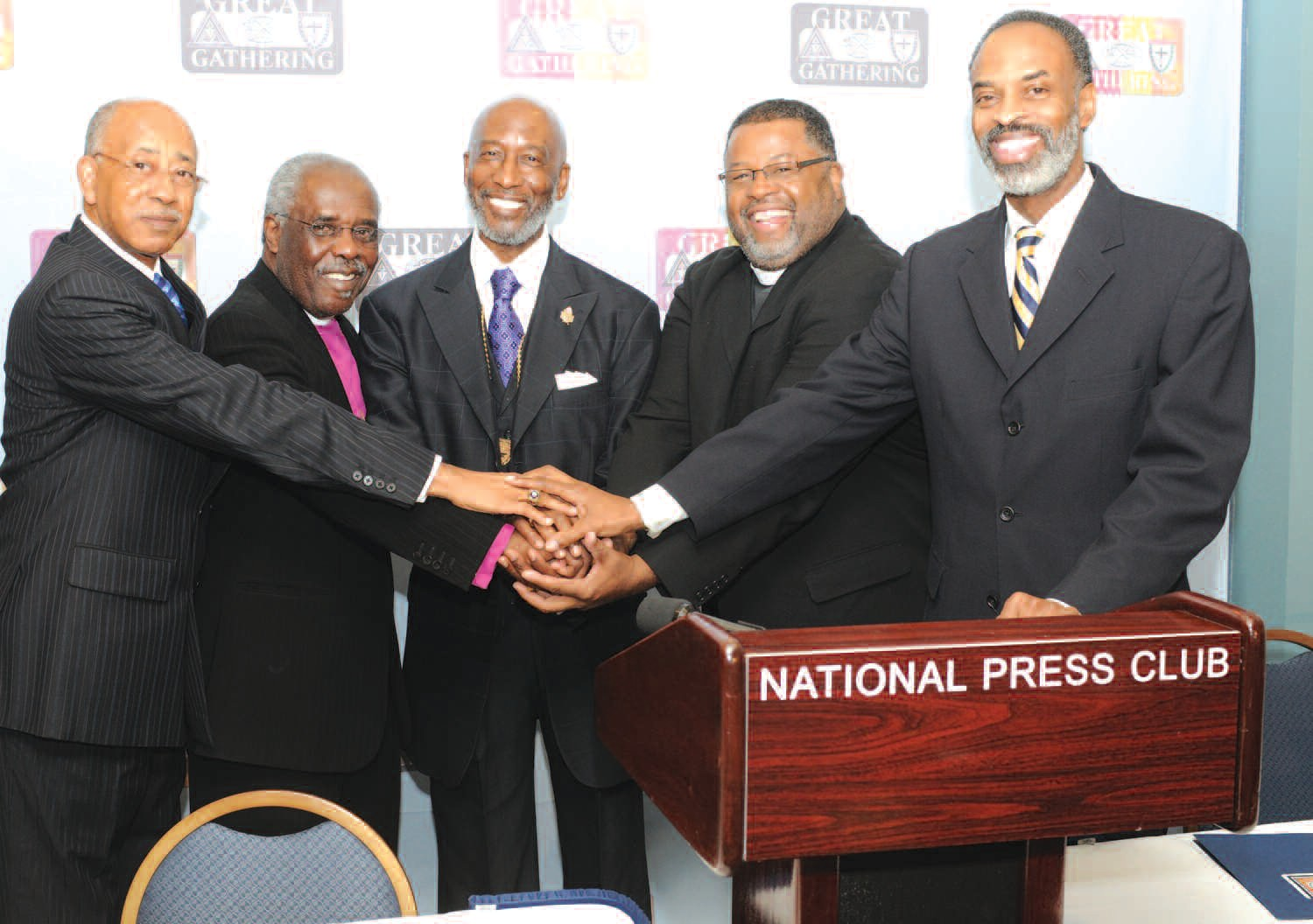 Shown are (l to r):Bishop Warren M. Brown (AME Zion), Bishop George Walker (AME Zion), Bishop John R. Bryant (AME), Rev. Paul L. Brown, Sr. (CME) and Rev. Staccato Powell (AME Zion). (Photo by Jason Miccolo Johnson)