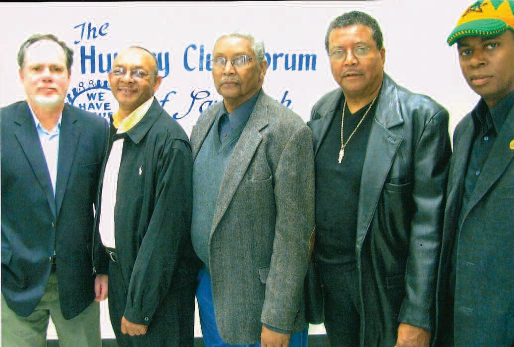 L-R: Dave Kelly, Coordinator, Harris Neck Community Land Trust, Wilson Moran, Kenneth Dunham, Chester Dunham, and Jamal Toure'
