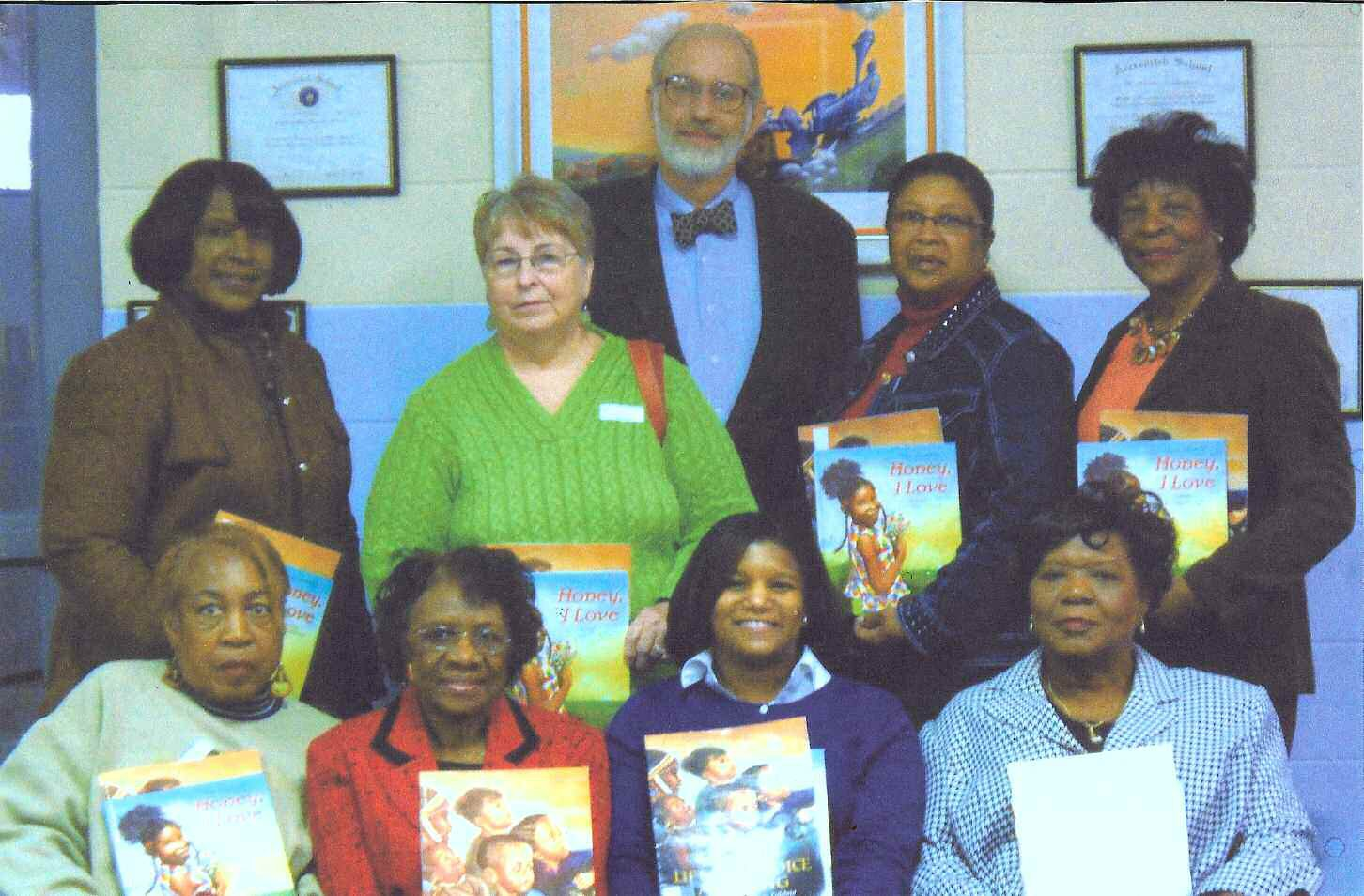 Retirees who assembled at East Broad to read to students included: first row: Dr. Rebecca Dawson, Mrs. Jeanette Scott, Dr. Charlene Ford, Mrs. Kathy Jenks. second row: Mrs. Rosa Jackson, Mrs. Harriett Roberts, Mr. Hugh Golson, and Mrs. Jere Williams. Mrs. Barbara Magwood, and Mrs. Virgiina Edwards not shown.