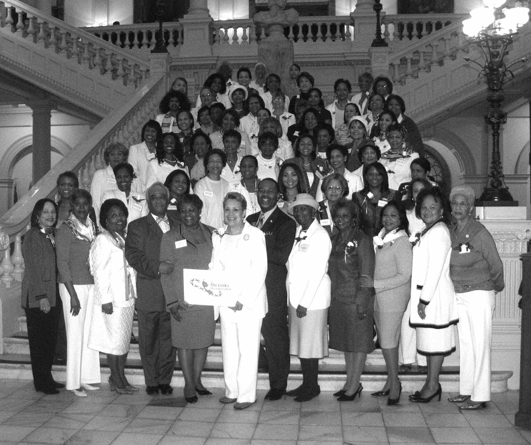 Members of the Georgia Chapter of The Links, Incorporated gathered on the steps in the Georgia Capitol with a few of their local legislators including State Representative Tryone Brooks (Atlanta) and State Senator Hardie Davis (Augusta).
