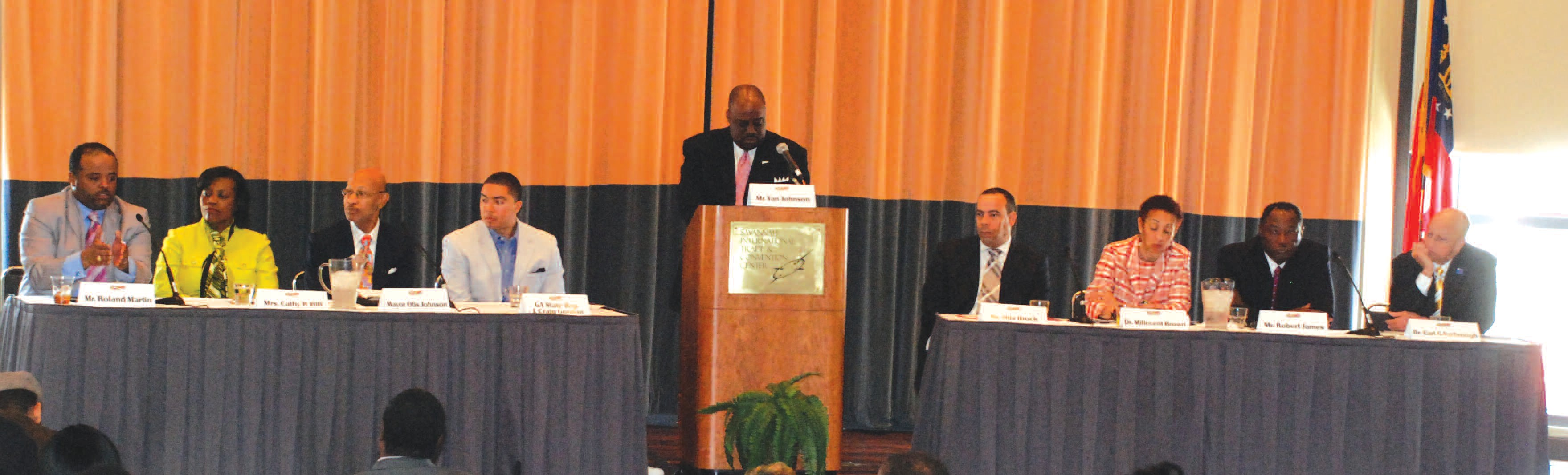 Picture are panelists Roland Martin, Cathy Hill, Mayor Otis Johnson, and Rep. J. Craig Gordon Moderator Alderman Van Johnson. Not shown are Otis Brock, Dr. Millicent Brown, Robert James and Dr. Earl Yarbrough. Photo courtesy of Sirens Images