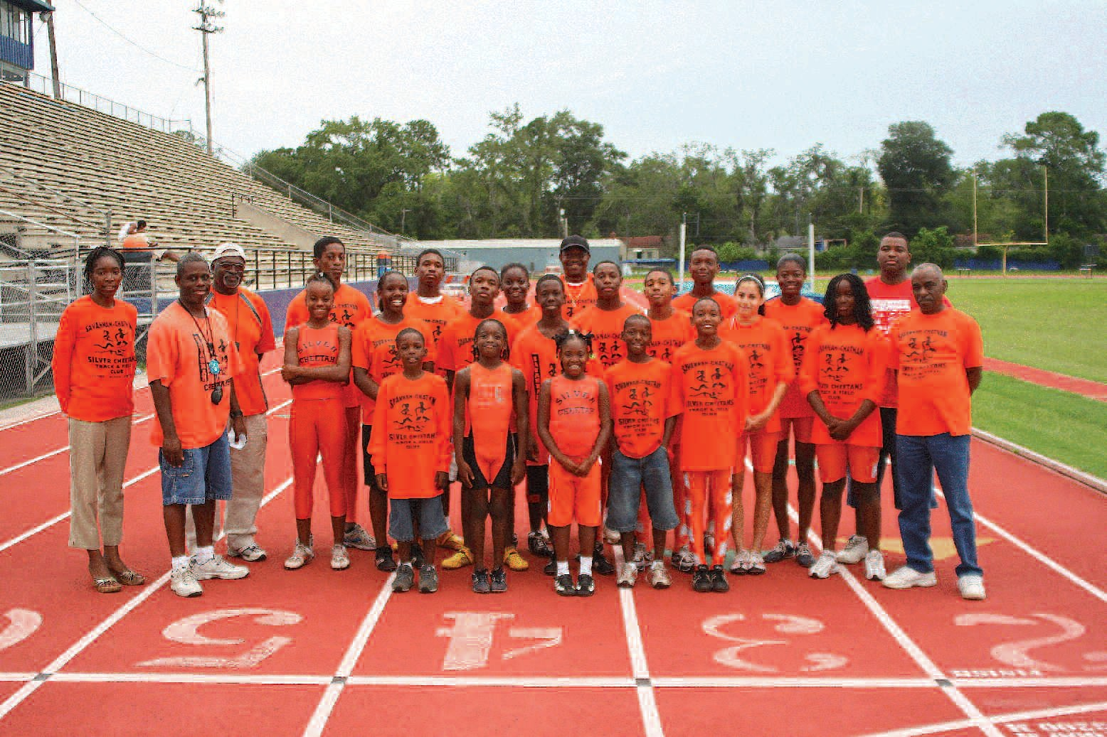 Members of the Savannah-Chatham Silver Cheetahs are pictured with coaches