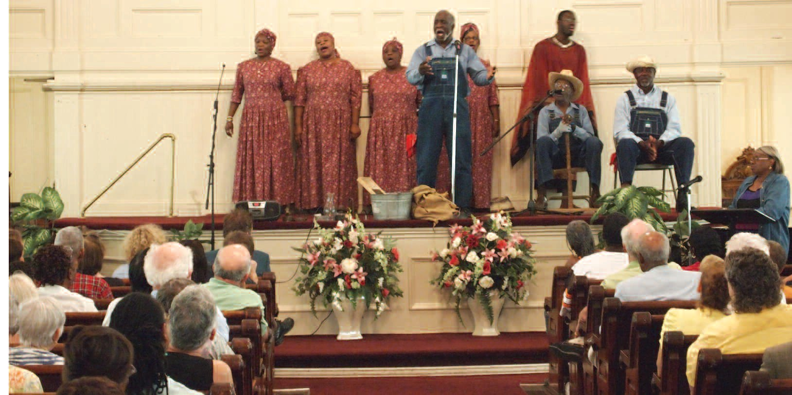 McIntosh County Ring Shouters perform during a recent performance in Savannah at Second African Baptist Church