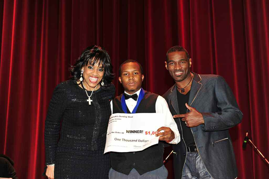 Brian Saxton, Savannah's Sunday's Best winner is pictured with recording artists Vickie Winans and Earnest Pugh Photo courtesy of Upscale Images