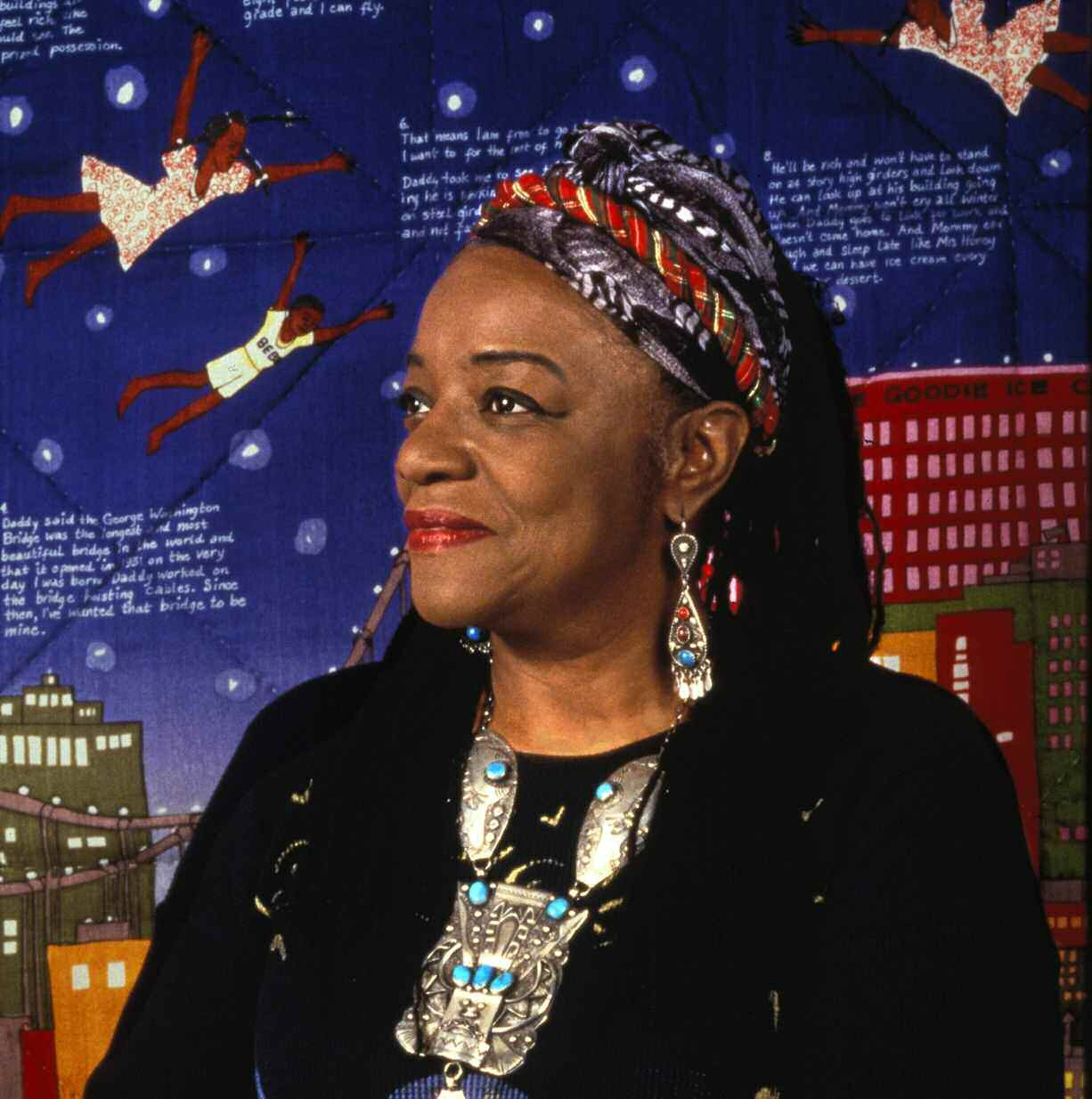 Faith Ringgold in Front of Tar Beach 2, photo by Grace Matthews, Courtesy of the Artist.