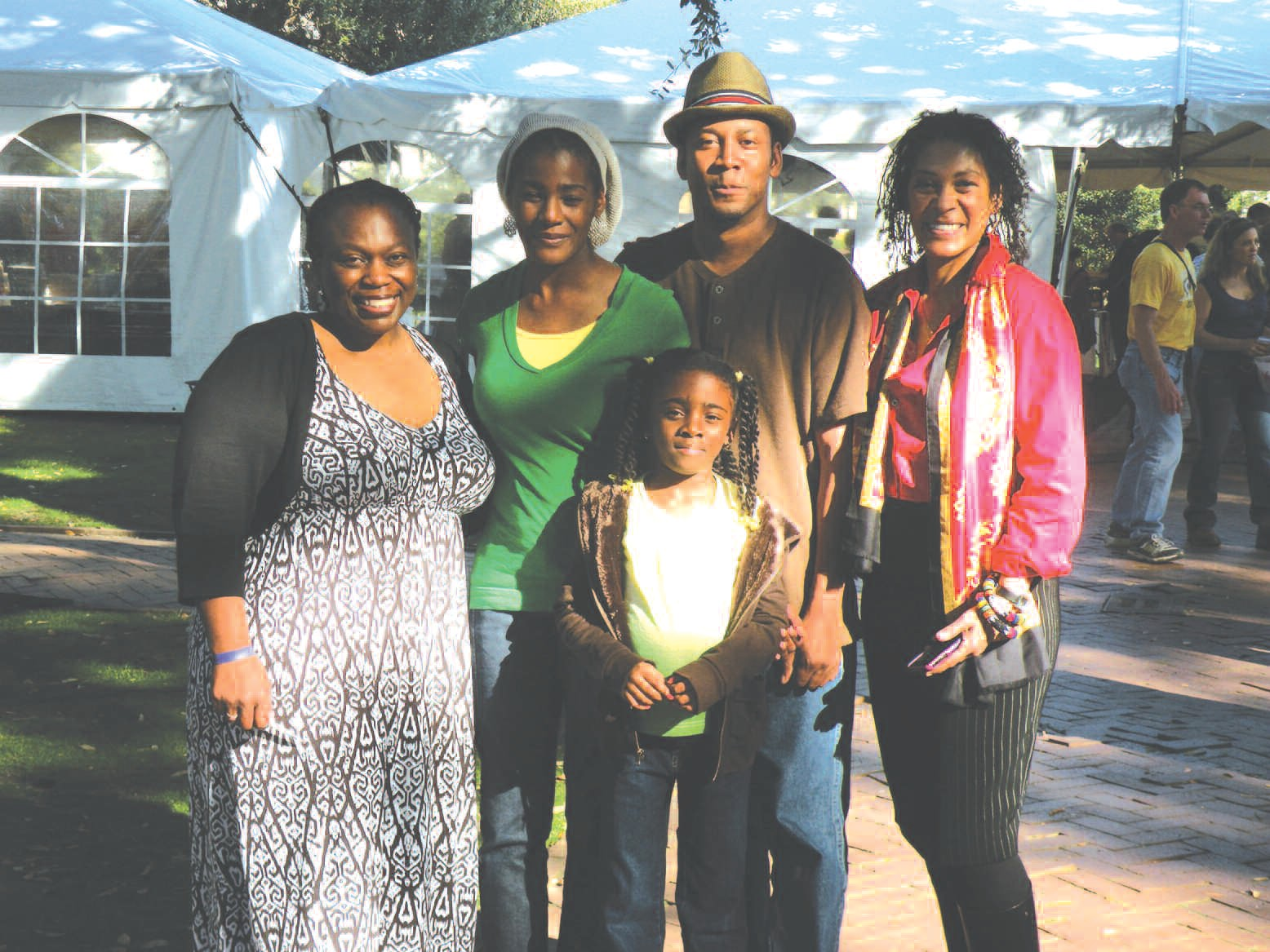 Tarshia L. Stanley (left) is pictured with festival attendees and Tina McElroy Ansa, local publisher, Down South Press, and author.