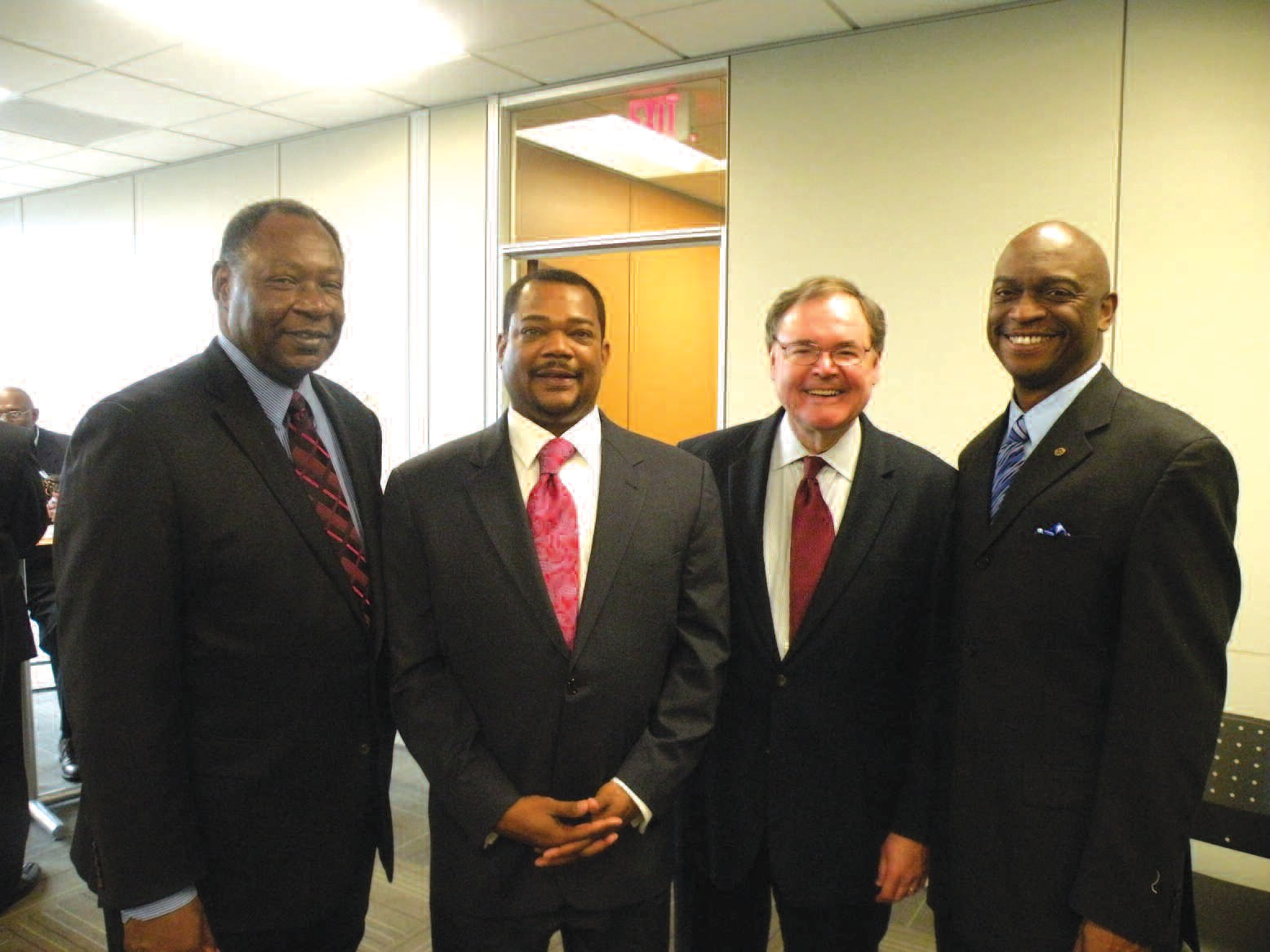 Pictured left to right are: Robert James, Ira Snell, Brooks Stillwell and Rev. Thurmond N. Tillman