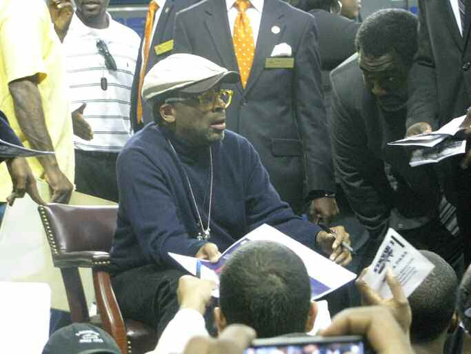 Spike Lee signs autographs after speaking at SSU on March 22