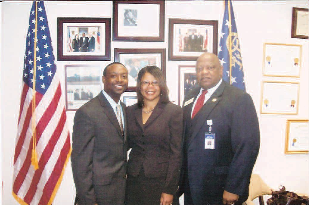 Pictured left to right: Pastor Anthony Edwards, Mrs. Terrain Edwards and Rep. Bob. Bryant