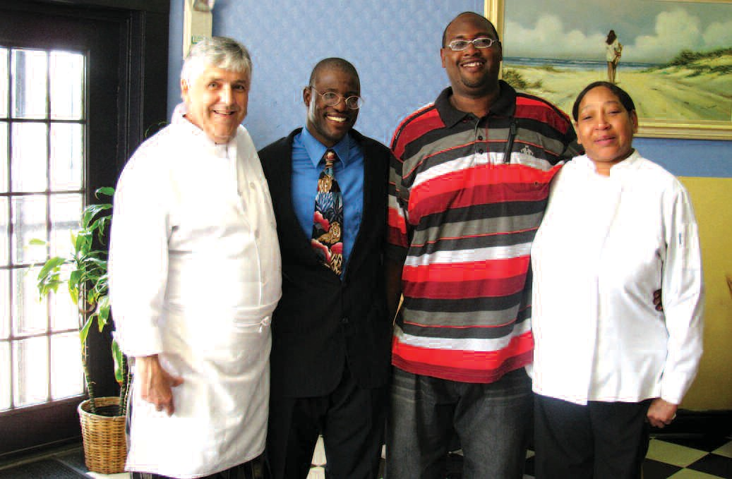 Pictured left to right: Chef Paul Buck, Jerome Green, Sherrod Hall, and Gloria Clements