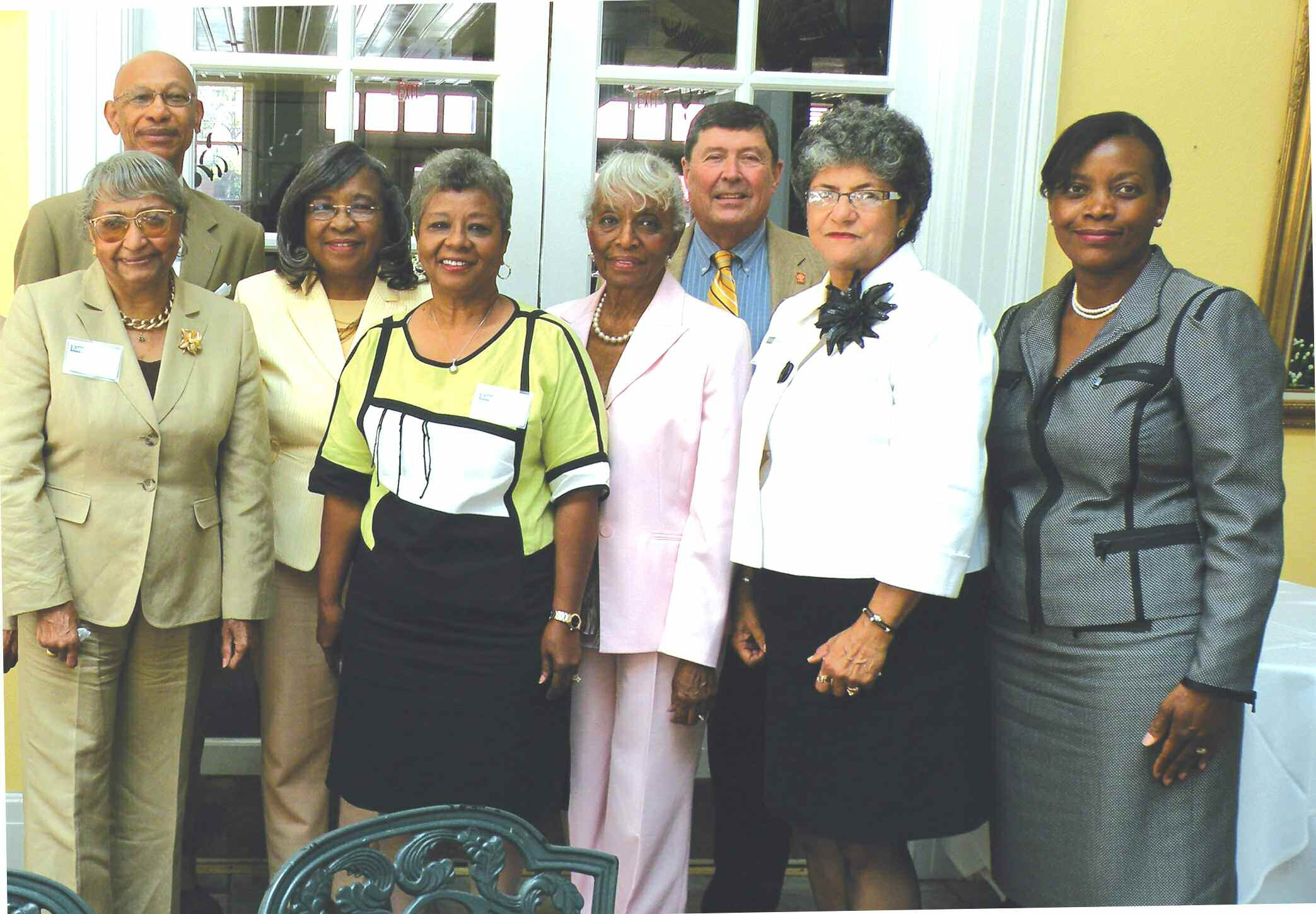 Pictured are: 2nd row (left to right) Mayor Otis Johnson, Dr. Jacquelyn W. Stephens, Dr. Joe Buck 1st row (left to right) Dr. Olivia Swanson, Mrs. Virginia A. Edwards-Maynor, Mrs. Jessie Collier DeLoach, Dr. Evelyn B. Dandy and Cathy Hill, Honorary Chairman