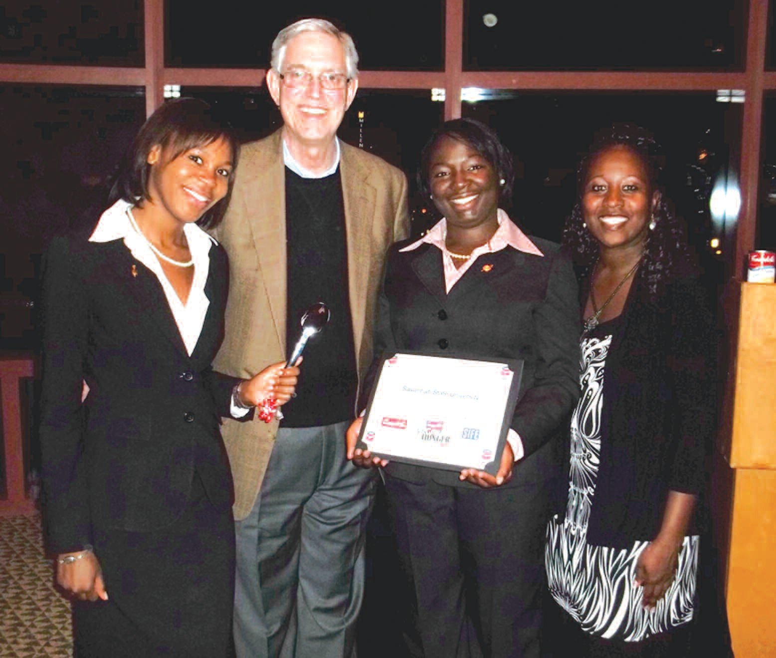 Left to right: Rachel Raines, president, SSU chapter of SIFE; Douglas R. Conant, president and CEO, Campbell Soup Co.; Ericka Williams, treasurer, SIFE; Shalonda K. Bradford, founding adviser and lecture of business management