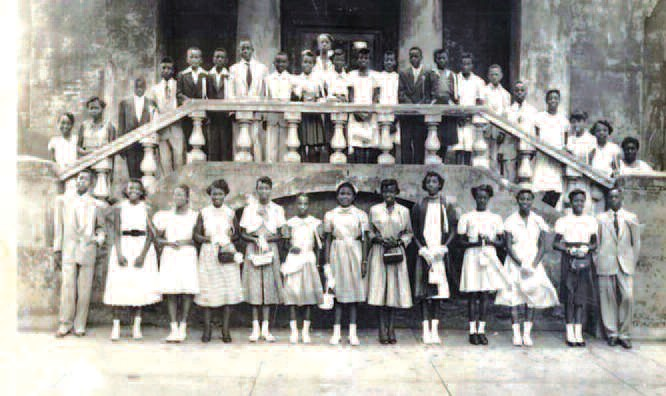 A graduating class of West Broad Street School, circa 1940's. Courtesy of Claretha Gardner Morse