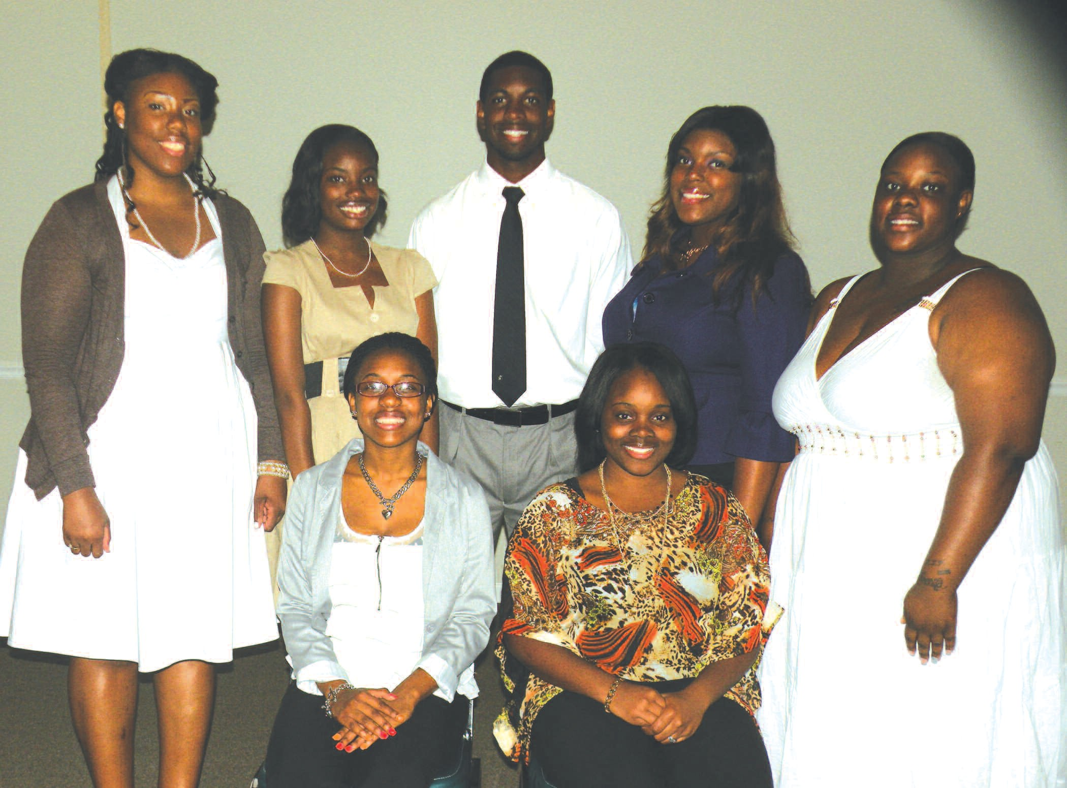 (Standing L-R): Shudai Henderson, Destiny Ruffin, Melvin Thomas, Shelby Harris, Breana Favors, (seated) Brikeishia Jackson and Yolanda Waller