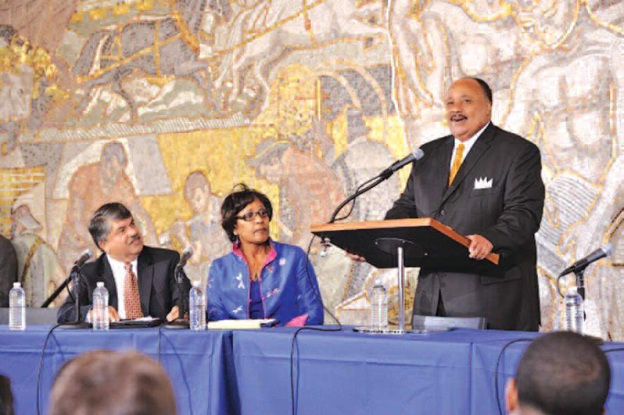 L-R: AFL-CIO President Richard Trumka, AFL-CIO Executive Vice President Arlene Holt Baker and Martin Luther King III. Kaveh Photo by Sardari/Page One
