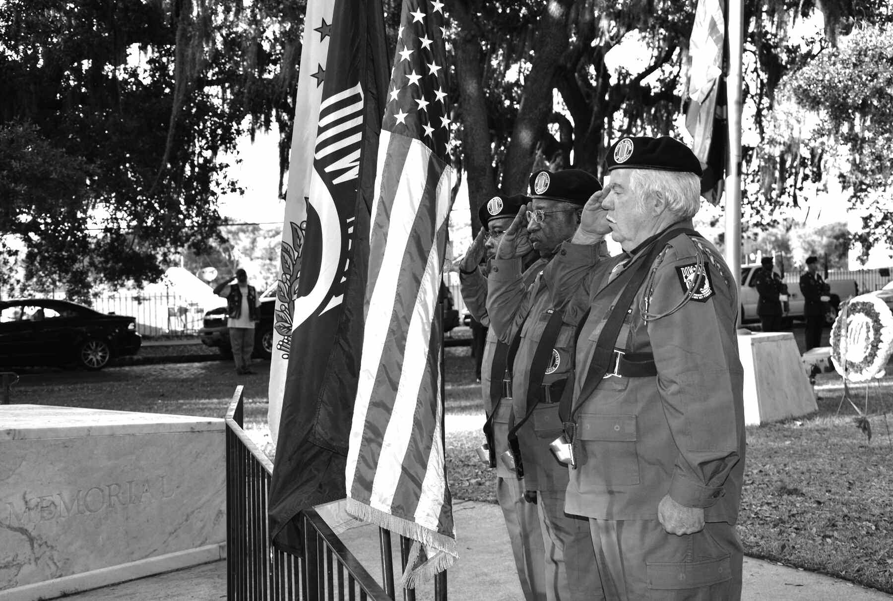 Color Guard for Chapter 671 of Vietnam Veterans of America, Left to Right: Lee Johnson, Earl Sheppard, David Payne -- in the background is Don Singleton.