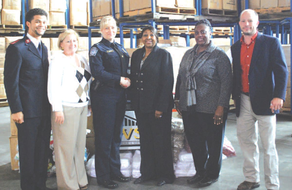 Salvation Army Capt. Marion Platt; City of Savannah Management Services Bureau Chief Marty Johnston; U.S. Customs and Border Protection Area Port Director Lisa Beth Brown; Mayor Edna B. Jackson; City Alderman Dr. Estella Shabazz; and Savannah Warehouse Services CEO Will Coley.