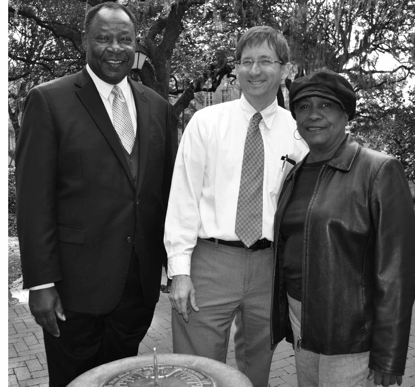 (L – R) Robert E. James, President of Carver State Bank; Jerry Flemming, Director of Park and Trees and Cemeteries for Savannah; and Mary Osborne, Second District Alderwoman.