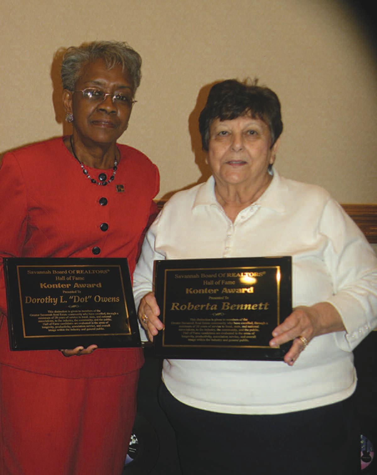 Dot Owens and Roberta Bennett recipients of the Konter Award